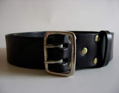 MILITARY STYLE DOUBLE PRONG LEATHER BELT