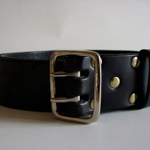 Handmade leather belt ~ Forth ~ 1.62 inches wide ~ black vegetable tanned leather with a heavy nickel plated solid brass buckle.