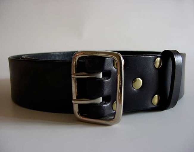 1.62 inch Military style handmade English bridle leather belt for jeans.