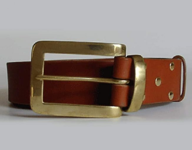 QUALITY LEATHER BELTS ~ LOSSIE ~ 1.75 inch (4.5cm) TAN VEGETABLE TANNED LEATHER WITH SOLID BRASS BUCKLE AND KEEPER.
