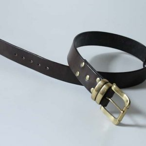 Handmade English bridle leather belt ~ Oykel ~ 1.75 inches wide ~ dark brown vegetable tanned leather with a heavy solid brass buckle and keeper.