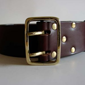 Handmade leather belt ~ Spey ~ 2 inches wide ~ brown vegetable tanned leather with a heavy solid brass buckle.