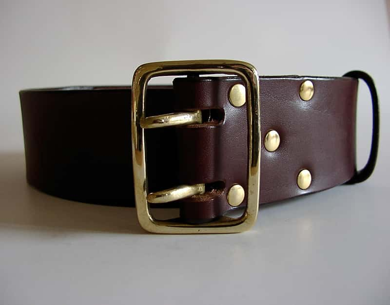 2 inch Military style handmade leather belt for jeans