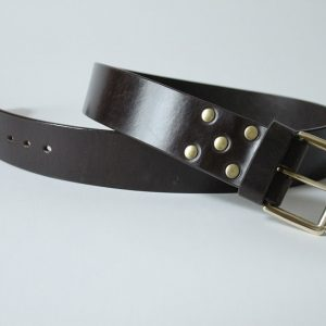 Handmade leather belt ~ Ness ~ 1.75 inches wide ~ dark brown oak bark tanned leather with a solid brass buckle.