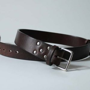 Handmade leather belt ~ Ness ~ 1.75 inches wide ~ dark brown oak bark tanned leather with a nickel plated solid brass buckle.