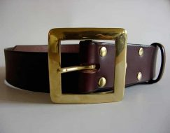 LEATHER BELT ~ NITH ~ 1.75 inch BROWN VEGETABLE TANNED LEATHER BELT WITH A HEAVY SOLID BRASS BUCKLE.