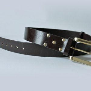 Handmade English bridle leather belt ~ Orrin ~ 1.75 inches wide ~ dark brown oak bark tanned leather with a heavy solid brass buckle.