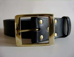1.7 INCH WIDE MENS LEATHER BELTS (4.3cm) ~ AROS ~ BLACK VEGETABLE TANNED LEATHER BELT WITH HEAVY SOLID BRASS BUCKLE.