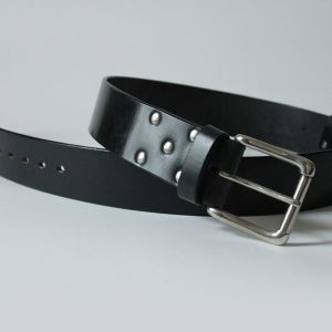 Handmade English bridle leather belt ~ Fiddich ~ 2 inches wide ~ black vegetable tanned leather with a heavy nickel plated solid brass buckle.