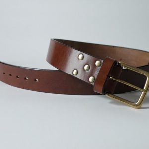 Handmade leather belt ~ Clyde ~ 2 inches wide ~ brown oak bark tanned leather with a heavy solid brass buckle.