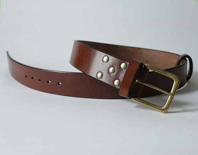 HANDMADE MENS LEATHER BELTS 2 INCHES WIDE ~ CLYDE ~ BROWN OAK BARK TANNED LEATHER WITH A HEAVY SOLID BRASS BUCKLE.